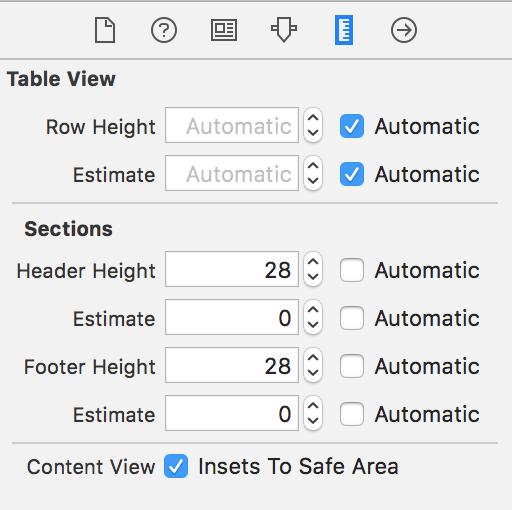 iOS11 StoryBoard 中 UITableView 高度相关参数