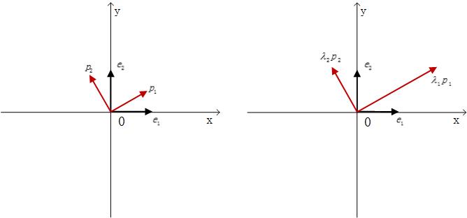 图1.目标空间中特征向量对应伸长$\lambda_i$倍