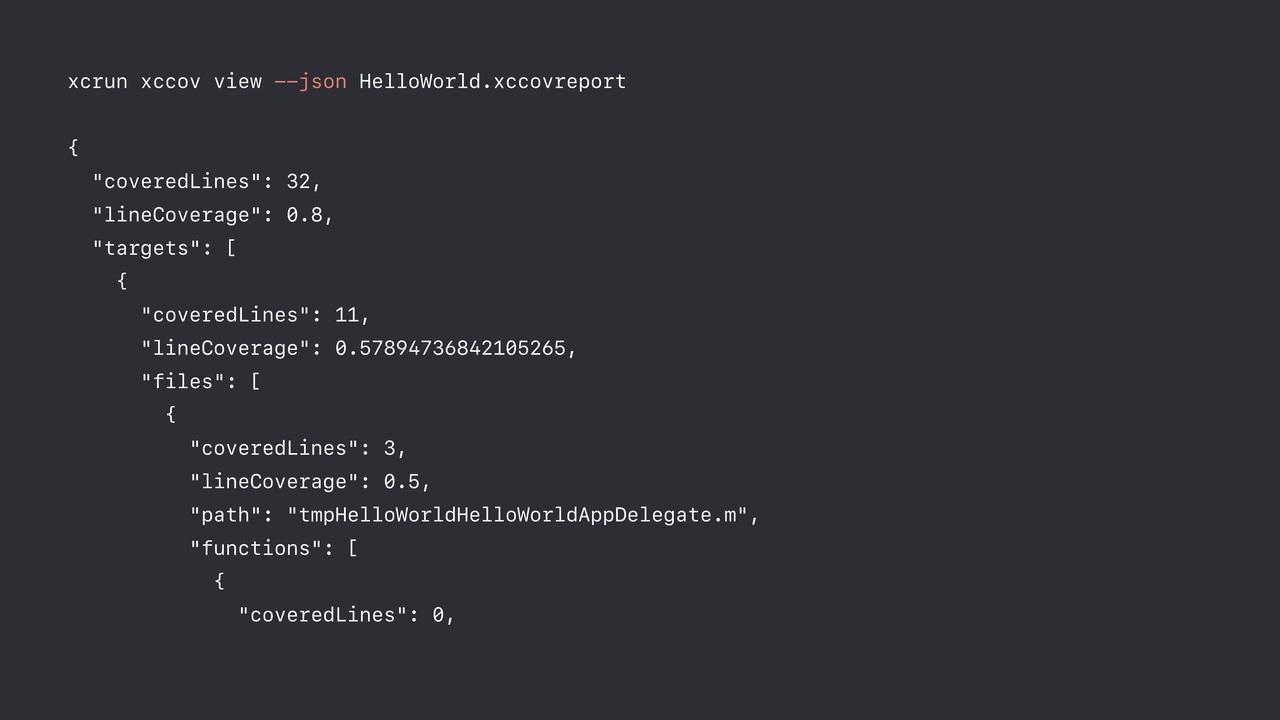 JSON 格式输出测试覆盖率