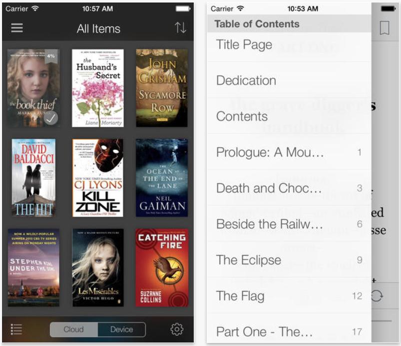 老 Kindle App 将所有功能放在 Hamburger Menu
