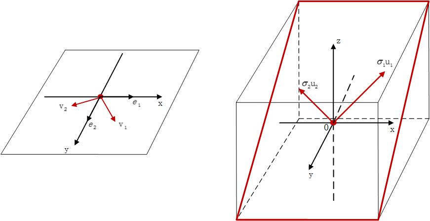 图2.原空间和目标空间选取了两组不同的标准正交基
