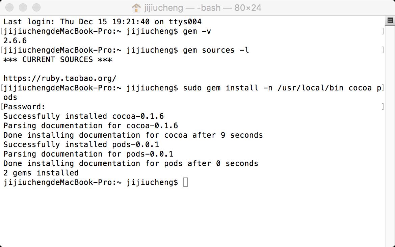 指令:$ sudo gem install -n /usr/local/bin cocoa pods 测试结果.png