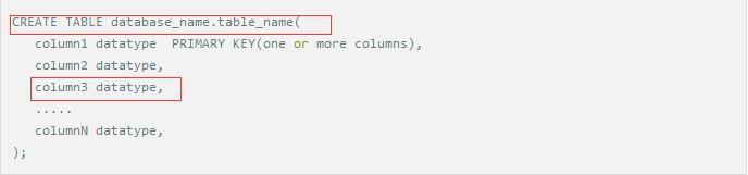创建数据表语法