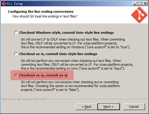 Git treat line endings in text files