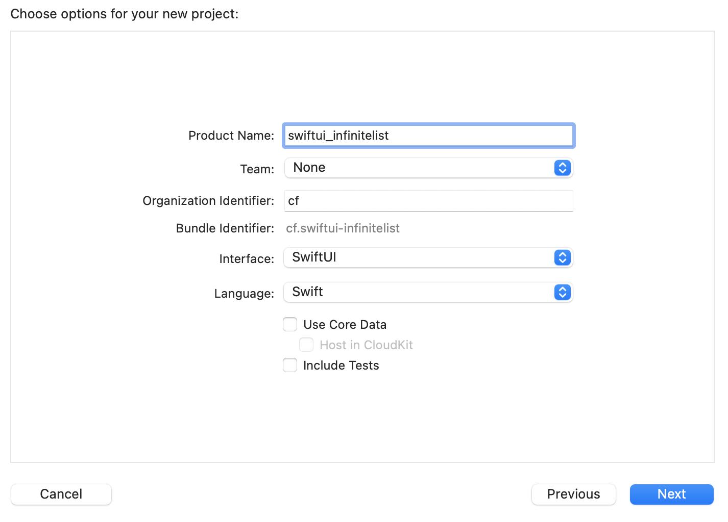 创建新的 SwiftUI 项目