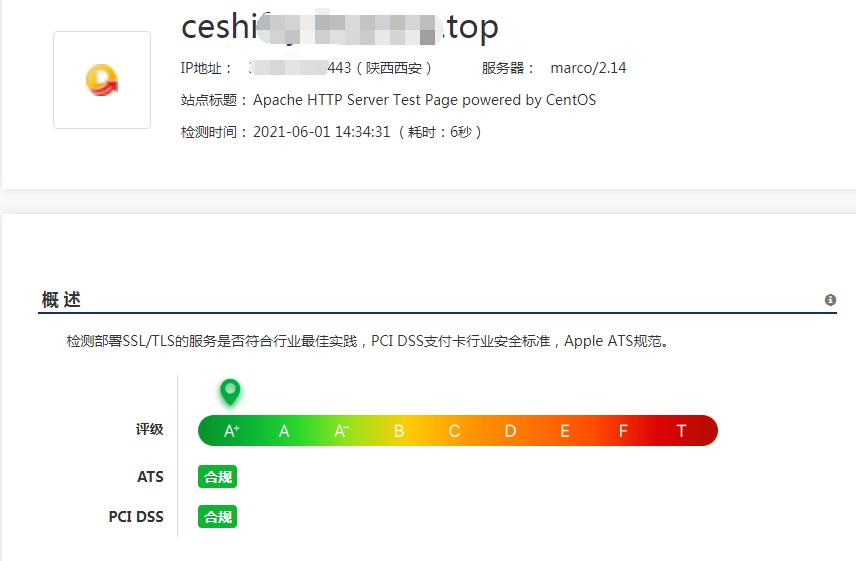 开启 HSTS 后,网站安全评级达到 A+